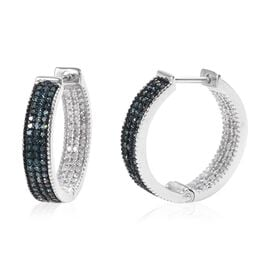 1 Ct Blue and White Diamond Huggie Hoop Earrings in Platinum Plated Silver