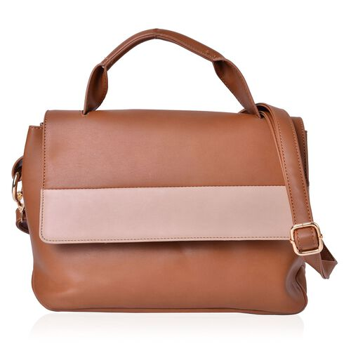 Super Reduction Deal Camel and Beige Colour Crossbody Bag with Adjustable and Removable Shoulder Strap (Size 30X22X2 Cm)