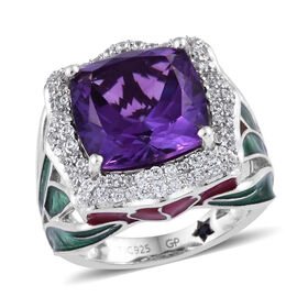 GP 7.5 Ct Amethyst and Cambodian Zircon with Multi Gemstones Halo Ring in Platinum Plated Silver