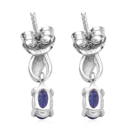 Tanzanite and Diamond Earrings in Platinum Overlay Sterling Silver 0.92 Ct.
