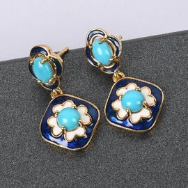 Arizona Sleeping Beauty Turquoise Dangling Earrings (with Push Back) in 14K Gold Overlay Sterling Silver 1.840 Ct., Silver wt 5.20 Gms