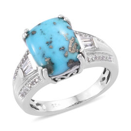 4.5 Ct Persian Turquoise and Cambodian Zircon Solitaire Ring in Platinum Plated Sterling Silver
