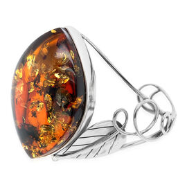 Natural Baltic Amber Cuff Bangle (Size 8) in Sterling Silver, Silver wt 30.04 Gms