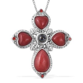 21 Carat Sponge Coral and and Multi Gemstone Cross Pendant with Chain in Stainless Steel 20 Inch