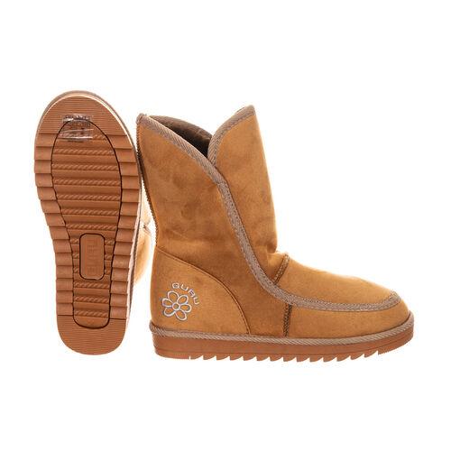 GURU Womens Winter Fluffy Ankle Boots (Size 5) - Honey/Tan