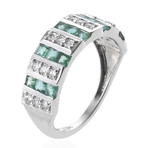 9K White Gold Princess Cut Kagem Zambian Emerald and Natural Cambodian Zircon Ring 1.150 Ct.