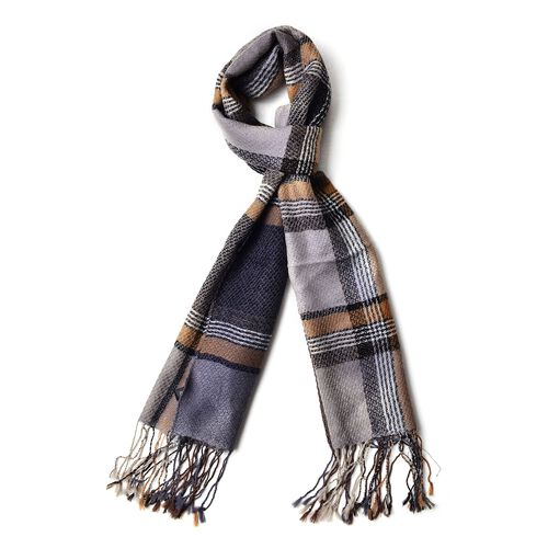 100% Wool Black, Grey and Multi Colour Checks Pattern Scarf with Tassels (Size 170X47 Cm)