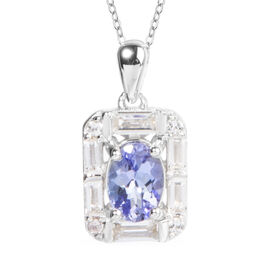 Tanzanite (Ovl), White Topaz Pendant With Chain (Size 18) in Rhodium Overlay Sterling Silver 1.410 Ct.