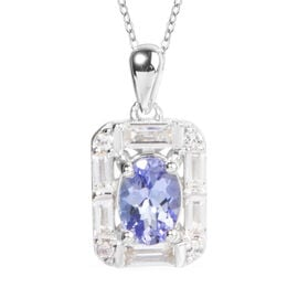 Tanzanite (Ovl), White Topaz Pendant With Chain (Size 18) in Rhodium Overlay Sterling Silver 1.410 C