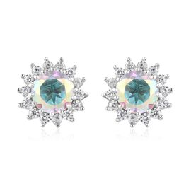 6 Ct Mystic Topaz and Zircon Halo Stud Earrings in Platinum Plated Silver