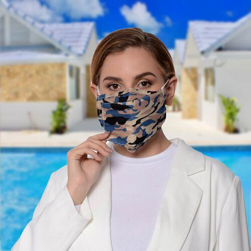 Camouflage Pattern Double Layer Open Mouth Reusable Face Covering with Adjustable Ear Loop (Size 22x18 Cm) - Beige and Blue