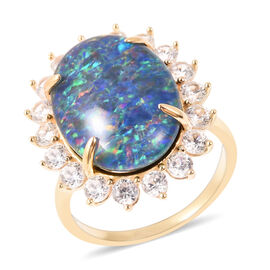 AAA Australian Rare Boulder Opal and Zircon Halo Ring in 9K Yellow Gold