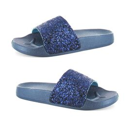 Ella Jasmine Glitter Slider Sandals in Navy Colour