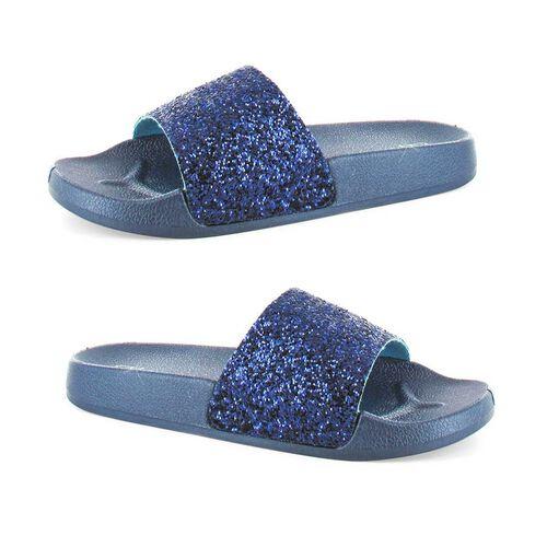 Ella Jasmine Glitter Slider Sandals (Size 3) - Navy
