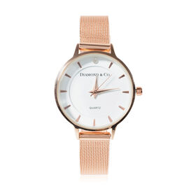 DIAMOND & CO LONDON- Diamond Studded Watch with Mesh Style Strap - Rose Gold Plated