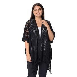 Knit Hollow Butterfly Pattern Kimono with Tassels (Size 85x65+14 Cm) - Black