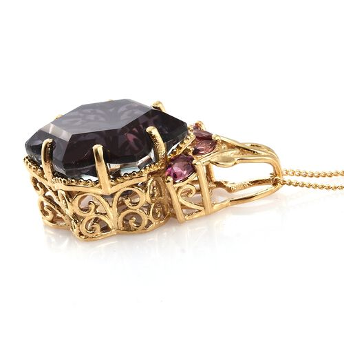Alexandria Quartz and Rhodolite Garnet Pendant with Chain in 14K Gold Overlay Sterling Silver 16.250 Ct.