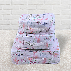 Set of 3 - SERENITY NIGHT Floral Pattern Storage Bag (Size:29x20x13Cm, 30x27x13Cm, 40x30x13Cm) - Off