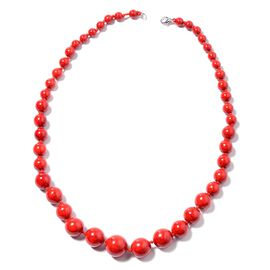 425 Ct Red Howlite Beaded Necklace in Silver Tone 22.5 Inch