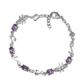 Amethyst (Ovl) Music Note Bracelet (Size 7.5) in Platinum Plated 2.000 Ct