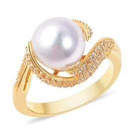 White South Sea Pearl (Rnd), Natural White Cambodian Zircon Swirl Ring in Yellow Gold Overlay Sterli