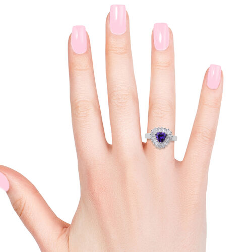 Designer Inspired- ELANZA Simulated Tanzanite (Trl), Simulated Diamond Ring in Rhodium Overlay Sterling Silver