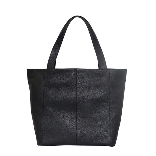 Assots London CORDER Pebble Grain Genuine Leather Tote Bag with Magnetic Closure (Size 45-33x11x32 Cm) - Black