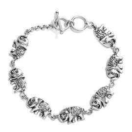 Artisan Crafted Sterling Silver Elephant Bracelet (Size 7.5), Silver wt 12.56 Gms