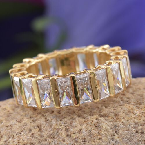J Francis - 14K Gold Overlay Sterling Silver (Bgt) Full Eternity Ring Made with SWAROVSKI ZIRCONIA, Silver wt 5.98 Gms.