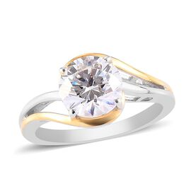 J Francis Platinum and Yellow Gold Overlay Sterling Silver Solitaire Ring Made with SWAROVSKI ZIRCON