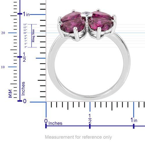 Odisha Rhodolite Garnet (Hrt), White Topaz Floral Ring in Platinum Overlay Sterling Silver 3.520 Ct.