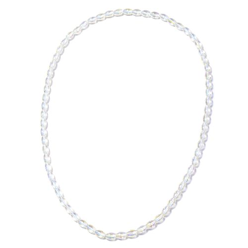 White Mystic Colour Barrel Beaded Necklace 20 Inch