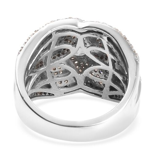 Natural Champagne and White Diamond (Rnd) Ring in Platinum Overlay Sterling Silver 1.50 Ct, Silver wt 7.30 Gms