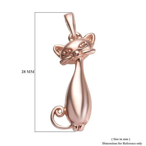Rose Gold Overlay Sterling Silver Cat Pendant, Silver Wt. 3.43 Gms.