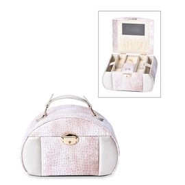 Croc Embossed 3-Layer Travel Jewellery Box with Inside Mirror, Two Pulled-out Drawers and Side Doors