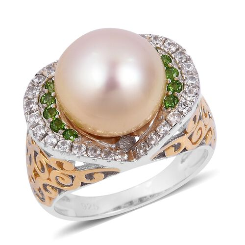 Rare Size South Sea Golden Pearl (Rnd 11.5-12 mm), Natural White Cambodian Zircon and Russian Diopside Ring in Rhodium and Gold Overlay Sterling Silver 11.110 Ct. Silver wt 5.35 Gms.