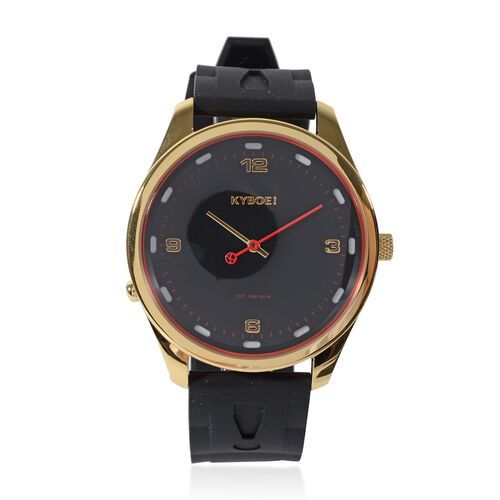KYBOE Evolve Collection - Black Gold Slimline 45MM LED Watch- 100M Water Resistance (With Extra Stra