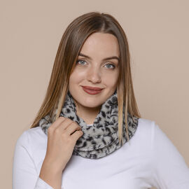 2 in 1 Leopard Pattern Infinity Scarf and Hat (Size 80x16cm) - Grey