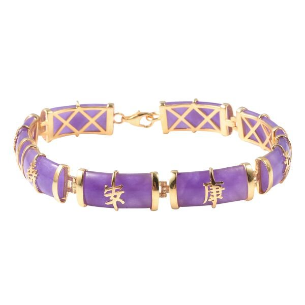 51.25 Ct Purple Jade Chinese Style Station Bracelet in Gold Plated Silver 9.40 Grams 7.5 Inch