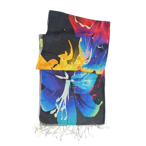 100% Katan Silk Black, Mustard and Multi Colour Digital Print Floral Pattern Scarf with Tassels (Size 200X70 Cm) Finish Wt. 100Gms