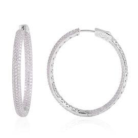 ELANZA Simulated Diamond Hoop Earrings in Rhodium Plated Sterling Silver 11 Grams