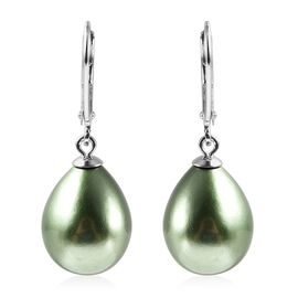 MP Peacock Colour Shell Pearl Lever Back Earrings in Rhodium Overlay Sterling Silver