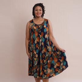JOVIE 100% Viscose Printed Pattern Sleeveless Dress (Size 60x112Cm) - Navy and Multi