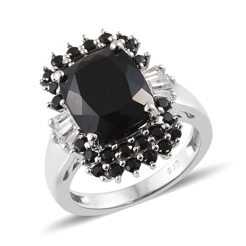 Black Tourmaline (Cush 4.19 Ct), Boi Ploi Black Spinel,Natural Cambodian Zircon Ring in Platinum Ove
