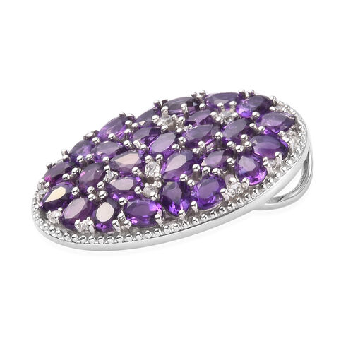 Amethyst and Natural Cambodian Zircon Pendant in Platinum Overlay Sterling Silver 4.18 Ct.