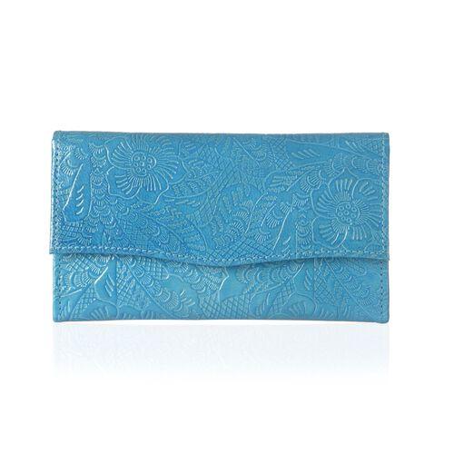 Genuine Leather Floral Embossed Batik Print Blue Colour Wallet (Size 18x10 Cm)