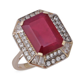 12.83 Ct AAA African Ruby and Natural Cambodian Zircon Halo Ring in 9K Gold