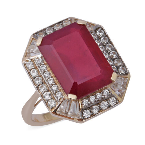 AAA African Ruby and Cambodian Zircon Halo Ring in 9K Gold,12.83 Ct