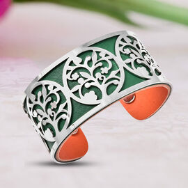 Designer Inspired-Tree-of-Life Pattern Cuff Bangle (Size 7.5) in Stainless Steel