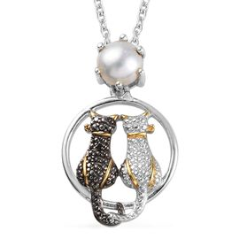 Freshwater Pearl (Rnd), Black and White Diamond Twin Cat Pendant with Chain (Size 18) in Platinum an
